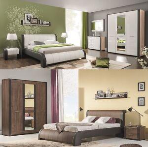 Schlafzimmer Komplett Nell Set A Weiß Hochglanzwenge Polsterbett