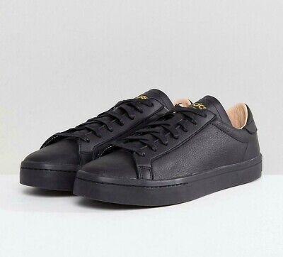 Adidas Originals Homme Cour Vantage en Cuir Noir Baskets CQ2562 UK   eBay