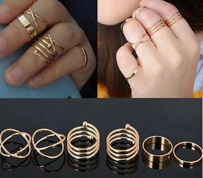 6pcs/set Knuckle Ring Fashion Punk Urban Gold Silver Stack Above Band Mid Rings