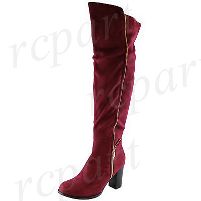 New fashion women's shoes over the knee boot side zipper Stiletto solid Burgundy