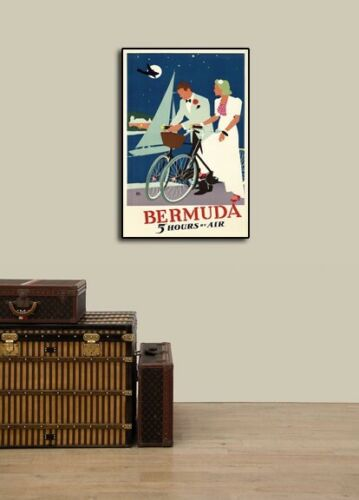 1930s Bermuda 5 Hours by Air Vintage Style Carribean Travel Poster 24x36