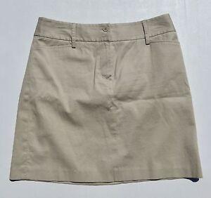 Ann-Taylor-Loft-Khaki-Beige-Flat-Front-Mini-Pencil-Skirt-Women-039-s-Size-8