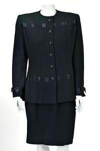 ILIE-WACS-for-Saks-5th-Ave-Vintage-Black-Wool-Crepe-Skirt-Suit-Ribbon-Trim-SZ-8