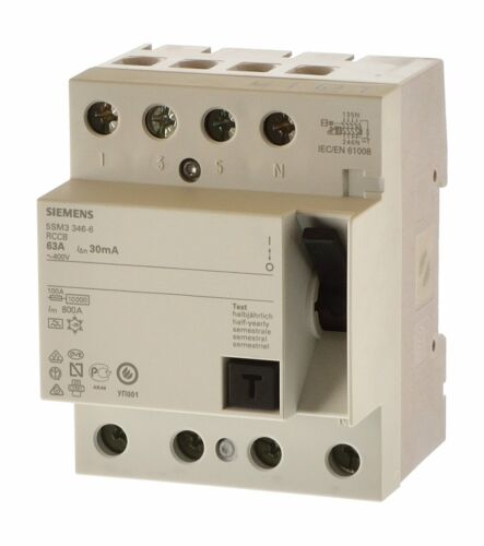 Siemens 5SM3346-4 Fi 63A 0,03A Fi Schalter Allstromsensitiv 30mA