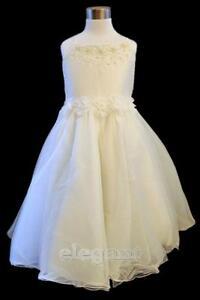 Ivory-Bead-Children-Kids-Wedding-Flower-Girls-Party-Dress-Pageant-Gown-2-11-Year