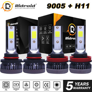 4X-LED-Headlight-Bulbs-Conversion-Kit-9005-H11-High-Low-Beam-Bright-White-6000K