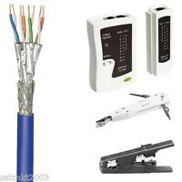 100 M Cat7a+ Netzwerk- /verlegekabel Mit Tester + Anlegewerkzeug + Abisolierer