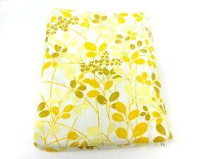 Vintage-Sears-Roebuck-Perma-Prest-Flat-Full-Sheet-Yellow-Leaf-Pattern-Double