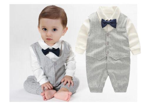 1pc Baby Infant Kids boys bodysuit false two bodysuit cool gentleman one piece