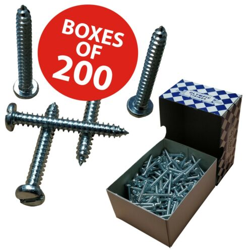 Olympic Fixings Zinc Plated Steel Self Tapping Screws Pan Head Slot//Slotted BZP