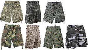 6ecf628995 Image is loading Cargo-Shorts-Vintage-Camo-Infantry-Utility-Military-Rothco