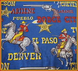 Cowboy-fabric-vintage-Fabric-35-034-X-36-034-material-Horses-Western-Red-Blue-stars