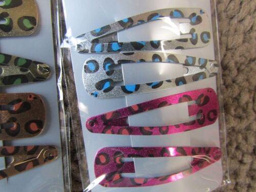 Pack 4 animal print cheetah hair bendies metal sleepies 5cm slides snap clips