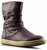 Infant Girls Kids Childrens New Grip Sole Zip Slouch Biker Ankle Boots Shoe Size
