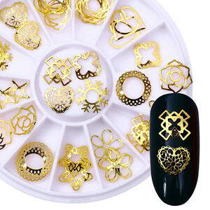 3D-Nail-Art-Decoration-in-Wheel-Heart-Star-Round-Gold-Alloy-Studs-Maincure-DIY