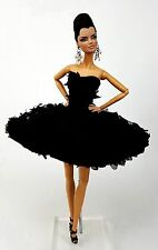 Eaki Silkstone Barbie Fashion Royalty Evening Black Clocktail Dress Outfit FR
