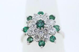 Vintage-14k-White-Gold-70ct-Round-Emerald-amp-1-0ct-Diamond-Cluster-Cocktail-Ring