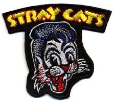 Stray Cats Patch Badge retro rockabilly hot rod iron on greaser jacket black