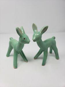 2-VTG-Unmarked-Shawnee-Glazed-Ceramic-Pottery-Deer-Figurine-Green-Mnufctr-Flaws