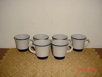 "6-PIECE NORITAKE PRIMASTONE ""FJORD"" PATTERN 3 1/4"" COFFEE CUPS/JAPAN/WHITE-BLUE"