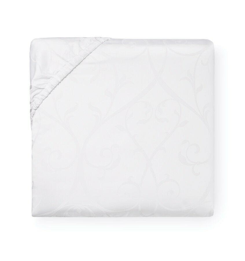 ITALY SFERRA SOMINA Weiß COTTON SATEEN JACQUARD FITTED SHEET