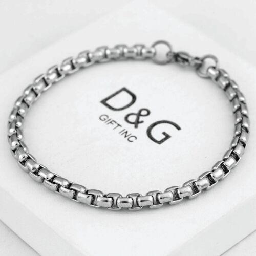 "DG Men/'s 8.5/"" Gold.Stainless Steel 5.5mm Round Box Chain Bracelet Classics BOX"