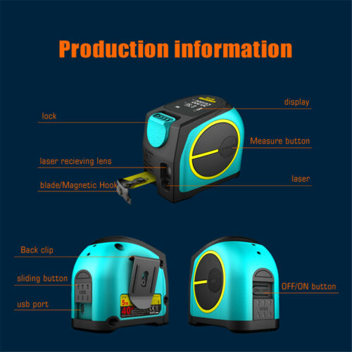 DT10 2 en 1 USB Laser Ruban à mesurer 5 m LCD numérique Télémètre laser 20//40//60m