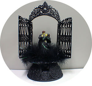 Details About Sexy Black Gown Groom Top Wedding Cake Toppers Halloween Gothic Frankenstein