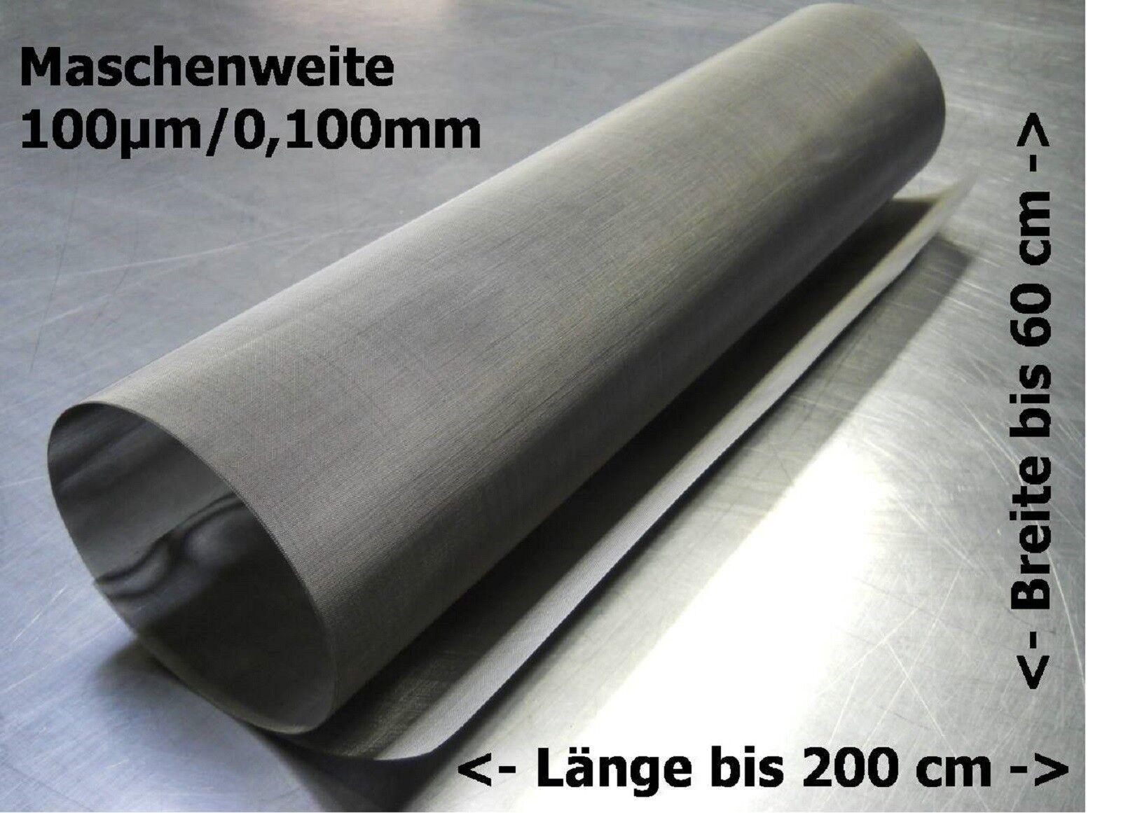 Tessuto IN ACCIAIO INOX PER FILTRO Tamburo arco setaccio ecc 0,100mm 100µm    fino a 200x60cm