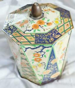 Vintage-Made-in-Holland-Metal-Tin-Container-Octagonal-Floral-Design-w-Lid