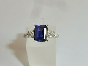 Ladies-Sterling-925-Solid-Silver-Baguette-Cut-Tanzanite-and-White-Sapphire-Ring