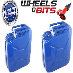 2x-20l-Azul-GARRAFA-MILITAR-Latas-Gasolina-Gasolina-Diesel-almacenaje-Tanque