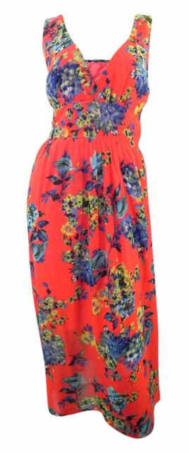Dorothy Perkins strappy bright red maxi dress printed with vintage floral patter