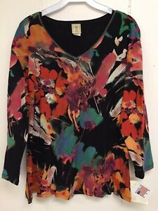 Jess-and-Jane-Love-Song-Shirt-Multicolor-Floral-Print-Size-Flowers-New-with-Tags