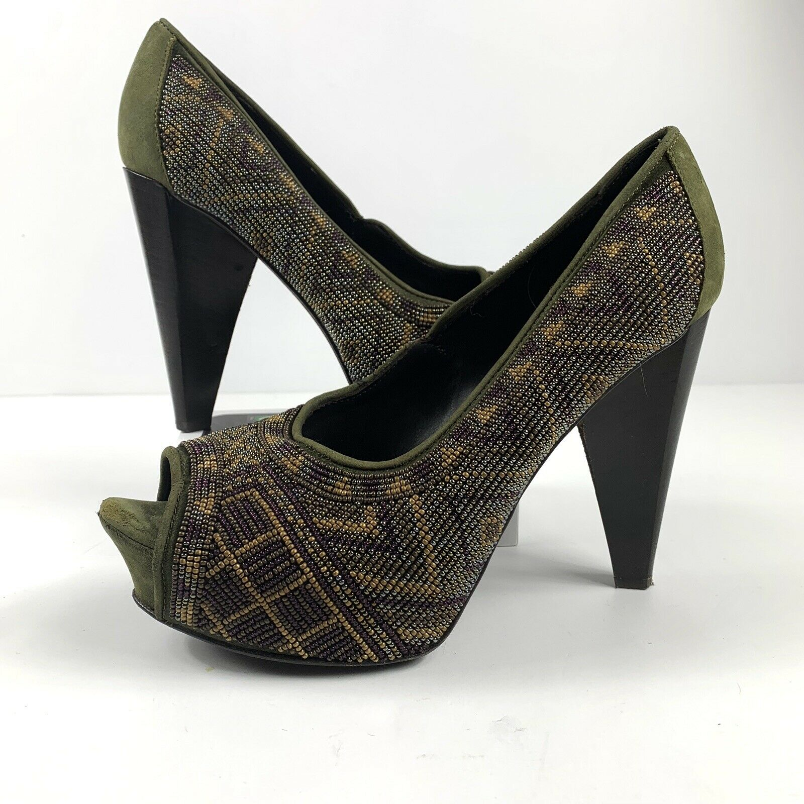 DONALD J PLINER CECI Green Brown TRIBAL AZTEC Peep Toe Heels 6.5M Beaded