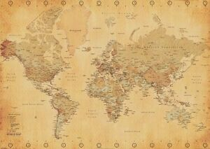 Parchment style giant map of the world wall poster ebay image is loading parchment style giant map of the world wall gumiabroncs Gallery