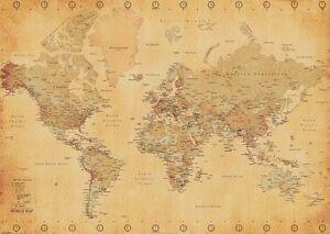 Carte Du Monde Parchemin détails sur style parchemin géant carte du monde affiche de mur- afficher  le titre d'origine