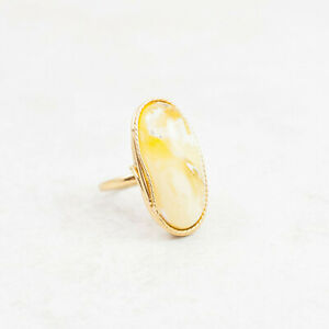 Oval Amber Ring Natural Amber Engagement Ring Yellow Butterscotch Amber Gold