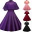 Womens-A-line-Dress-Lace-Cloak-Cape-Collared-High-Waist-Party-Prom-Gown-Dresses thumbnail 2