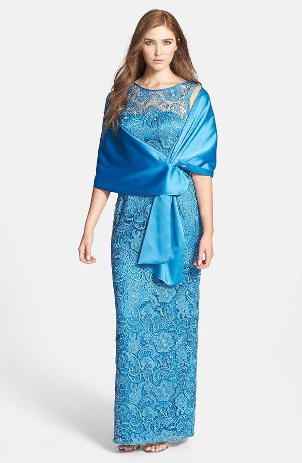 ADRIANNA PAPELL Blau AZURE  LACE COLUMN SLIT GOWN DRESS sz 8P