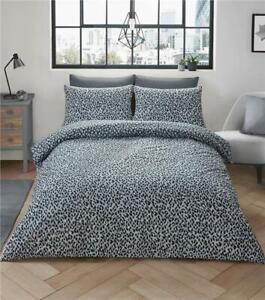 Details about Grey leopard print duvet sets quilt cover bed set animal  print bedding
