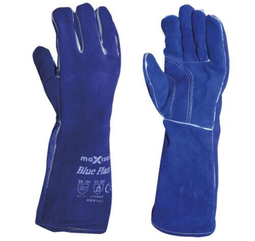 Maxisafe Blue Welding Gauntlet Gloves Fabrication Foundry Safety Pizza Oven