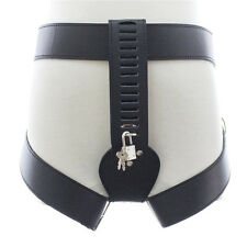 Faux Leather Female Belt Chastity Device Locker Thigh Cuffs, Panties Knickers