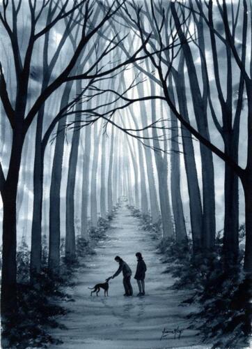 Stampa Dianne Heap ART 7113 Levriero Whippet Lurcher DOG paese alberi originale