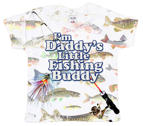 """DF Baby T-Shirt All Over Print /""""I/'m Daddy/'s Little Fishing Buddy/"""" Fish Dad Gift"""
