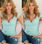 Women's Summer Blouse V-Neck Lace Sleeveless Vest Shirt Tank Tops T-shirt
