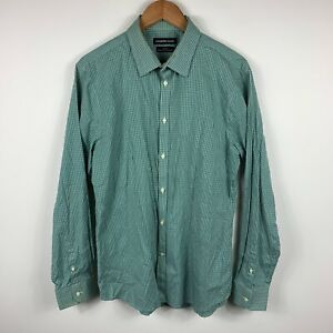 Country-Road-Mens-Button-Up-Shirt-Size-Large-Slim-Fit-Green-Check-Long-Sleeve