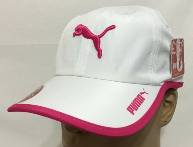 108b8e1c83 Womens PUMA White Pink Evercat Greta Running Hat Cap Adjustable Embroidered