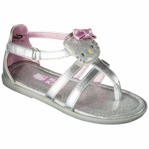 Nouveau Hello Kitty fille HELLO KITTY Sandales Chaussures-Argent 10 12