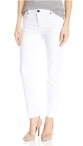 Kut From The Kloth Womens Optic White Reese Ankle Straight Leg Jeans Sz 12 8109